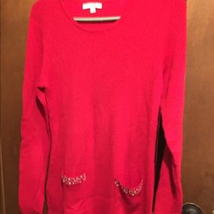 Red with bling pockets leggings sweater large
